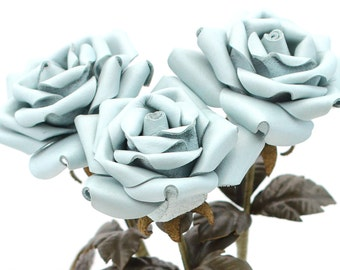 Leather flower baby blue long stem leather rose bouquet third Anniversary wedding gift Valentines 3rd Leather Anniversary Mother's Day