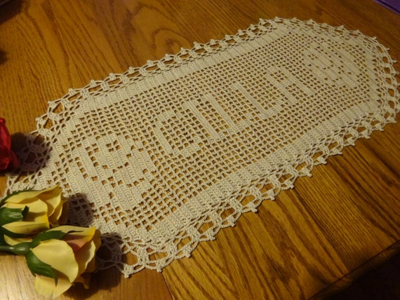 New Crocheted Name Doily, personalized doily, personalized gift, gift for women, personalized crochet, gift for family