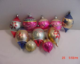 10 Vintage Mercury Glass Decorated Christmas Tree Ornaments  17 - 621