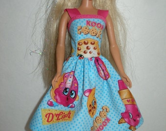 """Handmade 11.5"""" fashion doll clothes - blue and pink print dress with pink staps"""