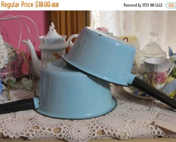 ON SALE Robin's Egg Blue-Aqua Enamel Pans-Set of 2