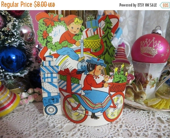 ON SALE Vintage Retro Mid Century Christmas Greeting Card-Cute Gifts under the Tree-Unused-Childrens-Stand-Up-3-D