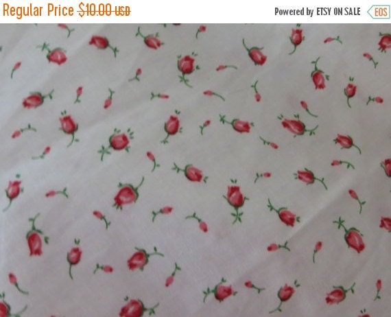 ON SALE Vintage Cotton Percale Fabric-Pink Rosebuds