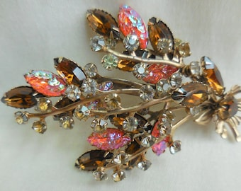 Vintage Iridescent MOLDED GLASS  and RHINESTONE Brooch Pin Floral Spray
