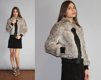 Vintage Gray Rabbit Fur Bomber Coat  - Gray Rabbit Fur Coat  - The Roxanne Coat  - W00143