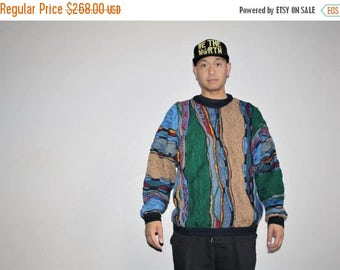 40% Limited time SALE  - XL Vetements 1990s Vintage Hip Hop Authentic Coogi Oversize Rainbow Cosby Rap Sweater - Biggie Smalls  - 90s Clothi
