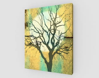 Glowing Moon and Tree in Turquoise and Gold Canvas Print (16x20in.)