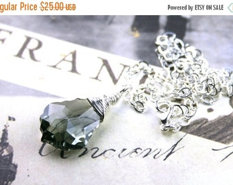 ON SALE Baroque Crystal Necklace in Black Diamond - Wire Wrapped - Handmade with Sterling Silver and Swarovski Crystal