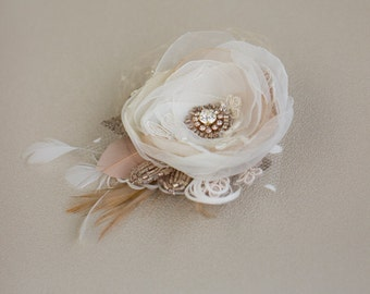 Bridal headpiece, Rose Gold Wedding hair piece, Wedding hair flower, Wedding hair clip, Champagne flower headpiece