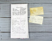 Custom Printed Recipe Tea Towel // Your recipe in the original handwriting on a tea towel