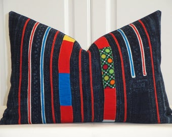 VINTAGE Hmong Hemp Pillow Cover - Tribal Decorative Pillow Cover - Accent Pillow - Toss Pillow - Lumbar Cover - Hilltribe Pillow