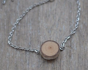 wood necklace  • birch wood pendant  •  wooden necklace