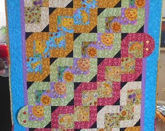 3D Wiggle Worm Quilt -Unisex - Purple, Pink, Green, Gold, Blue, Yellow