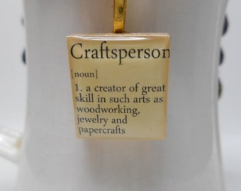 Craftsperson scrabble tile pendant necklace