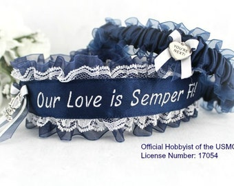 US Marine Wedding Garters - Marine Corps Garter set - Something Blue - Our Love Is Semper Fi - Personalized Garter set - You're Next.