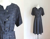 vintage 1950s day dress - CALDWELL sheer peekaboo dress / L