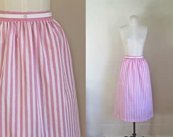 vintage 1980s striped skirt - CANDY STRIPED pink & white pencil skirt / L-Xxl