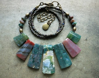 Bohemian Agate Statement Necklace, tribal fan style multicolored India agate stone jewelry in green and mauve