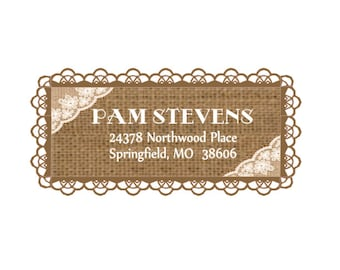 Burlap and Lace Address Labels