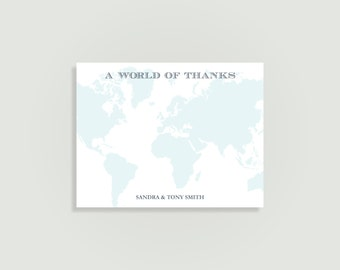 Travel Thank You Card - World of Thanks - Map Thank You - Personalized Printable File or Print Package Available - 00030-TYA2W