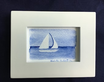 "Sailboat Watercolor - Giclee Print - Includes Frame - 4"" x 5"""