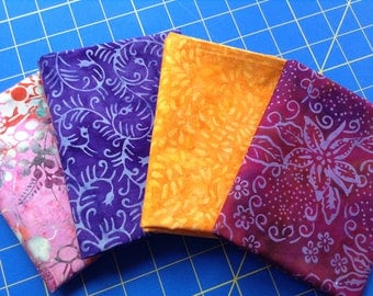 Batik Fat Quarter Bundle, 4 Different Colors and Patterns, 4FQ Bundle, Purple, Red, Pink, Yellow Batik Fabrics, Each FQ 18 x 22 Inches