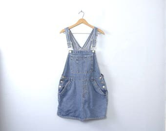 Vintage 90's overall shorts, light denim overalls, size Large