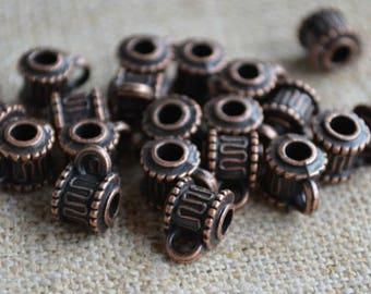 20pcs Metal Bead Antiqued Copper 7x6mm Round Tube 3mm Hole Loop
