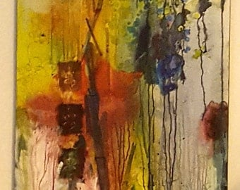 Destroyer of Worlds - mixed media painting, abstract, acrylic peel by Shelli Finch of StressArt