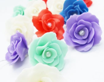 100 Handcrafted Miniature Roses Polymer Clay Flowers, assorted