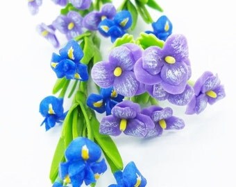 Iris and Pansy Miniature Polymer Clay Flowers Supply 20 stems, assorted
