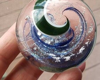 Handblown Glass Marble with Dichroic Glass and Silver