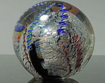 Dichroic and Silver Handblown Black Glass Paperweight