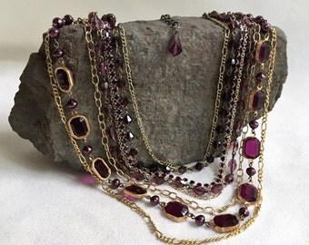 Antique Brass and Purple Glass, Rhinestone, and Acrylic Multistrand Necklace