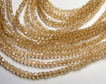 Crystal - rondelle  faceted 3mm x  2mm beads - 195 beads - AA quality - topaz - CAA2G139