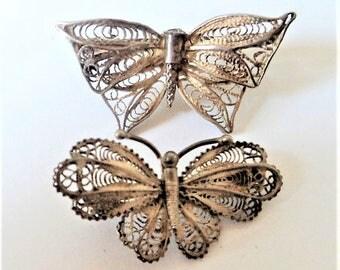 Two Vintage Filigree Butterflies... 800 Silver... Repair or Repurpose Brooch