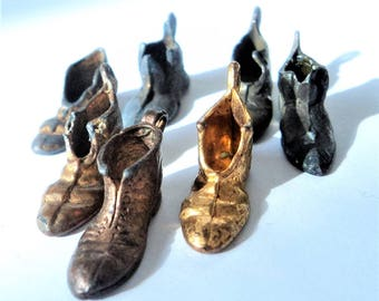7x Antique Boot Charms... c.1900 Lucky Pendants... Aged Mixed Metals