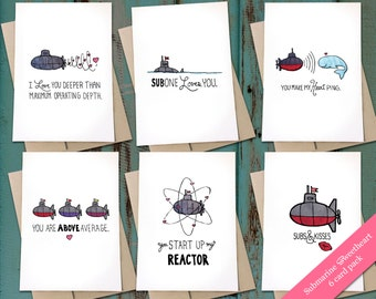 Submarine Sweetheart Card Pack - 6 folded greeting cards