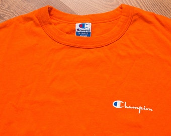 Champion Bright Orange T-shirt, XL Rap Hip Hop Tee, Spell Out Script, Vintage 90s