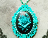 TURQUOISE ROSE- 30 x 40 mm Black and Teal Pearl Encrusted Rose Decoden Cameo necklace