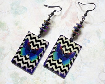 Purple, Turquoise, Magenta and Green Butterfly Boho Earrings (3162)