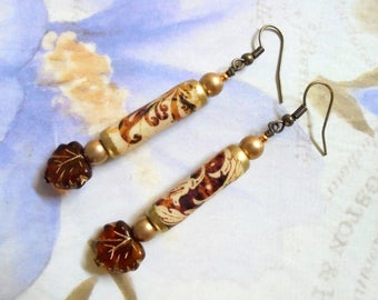 Brown, Gold and Ivory Scroll Earrings (3483)
