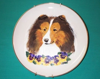 Shetland Sheepdog Dog Plate / Sheltie Hand Painted Plate by Hot Diggity Dog Fabrics