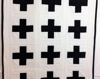 Modern Baby Boy Quilt, Swiss Cross Modern Nursery Wall Quilt  in BLack and White  by Dream Vintage Sheets