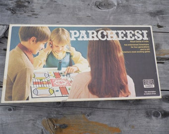 Parcheesi vintage 1975 board game Parcheesi Royal Game of India COMPLETE game with wooden pawns dice shaker instructions for your game nite