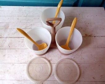 Vintage Tupperware Condiment Set with 3 containers and 3 small plastic ladle spoons