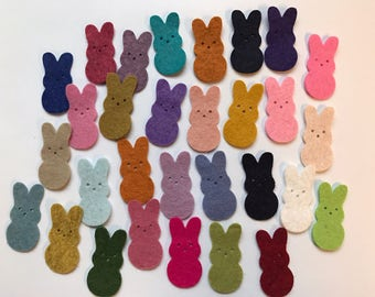 Wool Felt Die Cut Easter Bunnies 30 - 1-3/8 inch tall Random Colored. 3013 - Easter - Rabbit - Easter decor