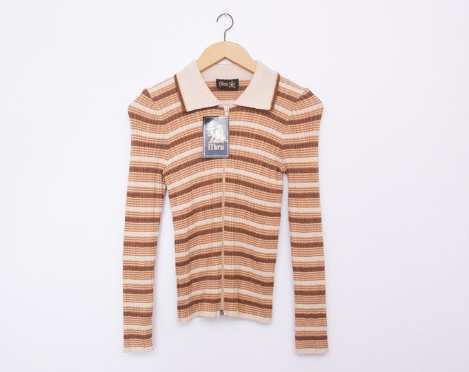 vintage 90s knit sweater beige brown stripes
