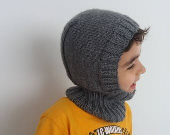Gray Knitted  Ski Hat-Unisex berets-snow grey color  hat face mask