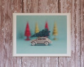 Midcentury Modern Christmas Card - Grey VW Bug with Glittery Trees - photo card, glitter, toy car, aqua, turquoise, magenta, gold, vintage